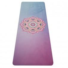 Joga podloga iz naravnega kavčuka - modra / roza 0,4 cm